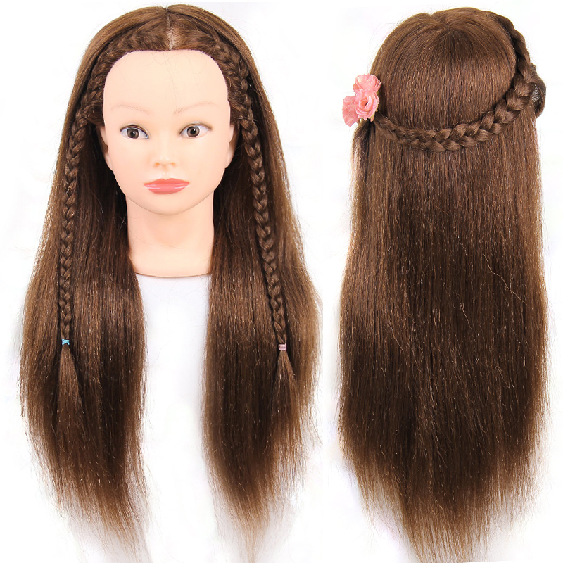 Brown 20 inch Training Head With Makeup 50% Human Hair 50% Animal Hair Hairdressing training head mannequin for salon