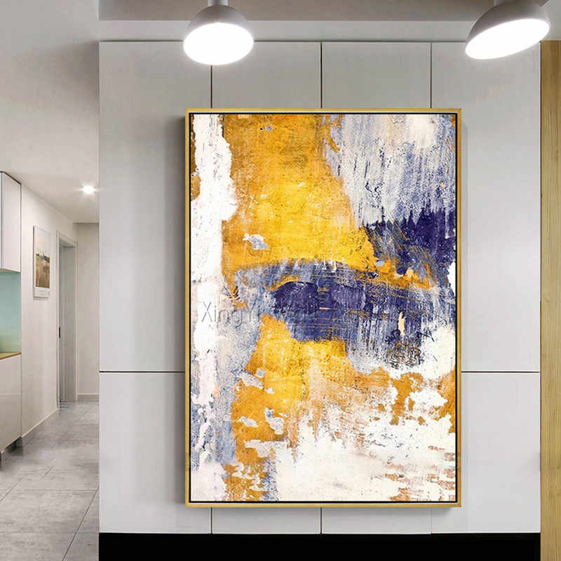 Gold Art Acrylic Abstract Painting On Canvas Wall Art