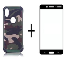 ФОТО for iphone x 8 8plus  camouflage cell phone protective cover and cell phone protective film drop-resistant shockproof phone set