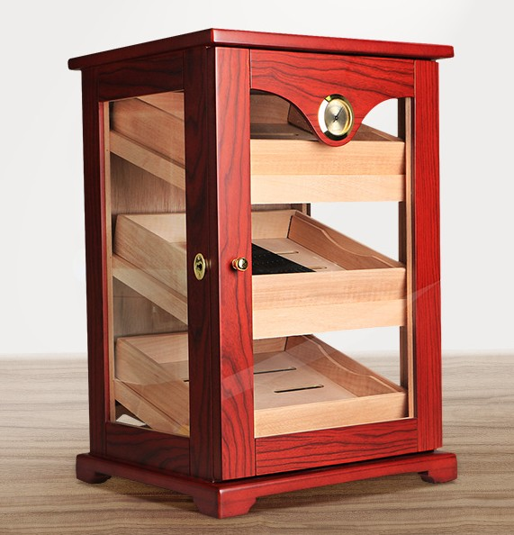 Zwarte kast sigaar humidor hoogwaardige meerdere lak cederhout 3 sigaret opbergdoos case aansteker Met Hygrometer - 6
