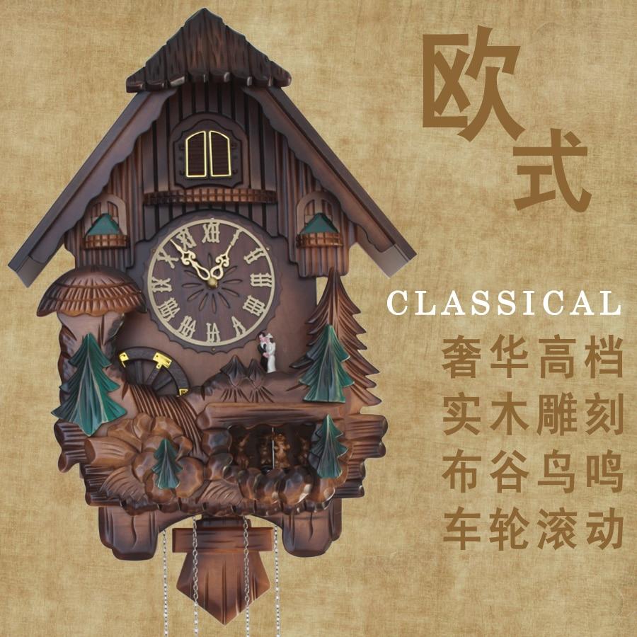 벽시계 뻐꾸기 시계 photoswitchable 나무 조각 음악 - 가정 장식