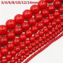 Atacado 3/4/6/8/10/12/14/16mm concha vermelha pérola redonda solta grânulos para fazer jóias gargantilha fazendo diy pulseira jóias
