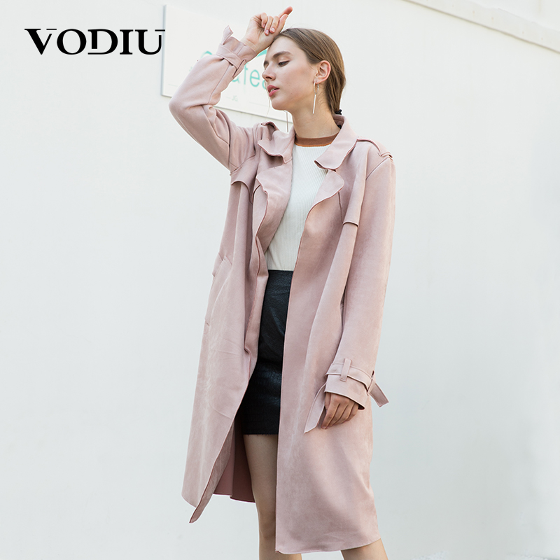 Vodiu Long Trench Coat For Women Windbreaker Women Cloak Trench Coat Female Autumn 2017 Tops Suede Sashes Pockets Pink Solid