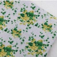 Green Garden Small Floral Cotton Cloth Fabric Pillowcase Tablecloths Small Curtain Printed Linen Decorative Cloth DIY