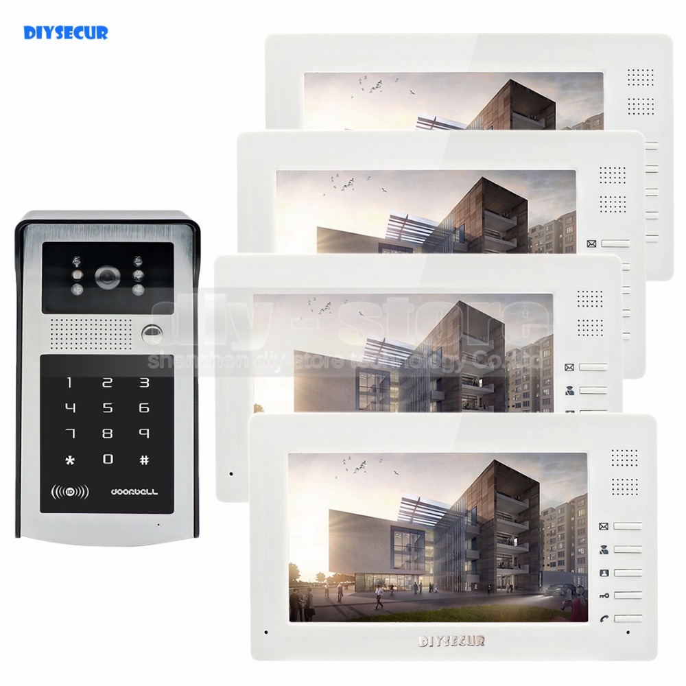 DIYSECUR 7inch 1024 x 600 TFT LCD Screen Video Door Phone Video Intercom Doorbell 300000 Pixels RFID Reader + Password Camera diysecur 1024 x 600 7 inch hd tft lcd monitor video door phone video intercom doorbell 300000 pixels night vision camera rfid