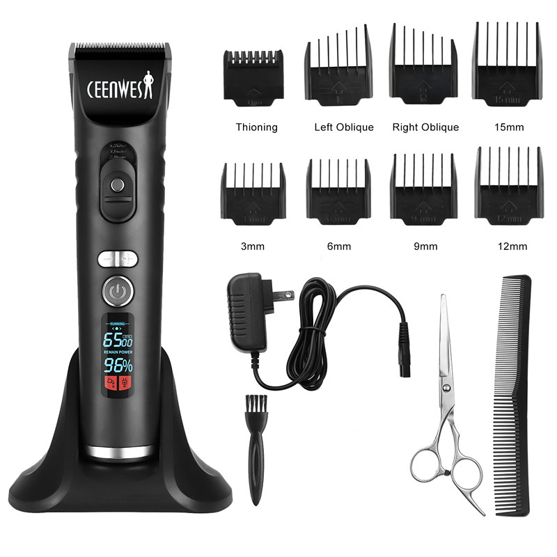 Ceenwes Rechargeable Hair Trimmer For Men Cordless Electric Clippers Hair Cutting Kit With 8 Guide Combs Including Charging Dock