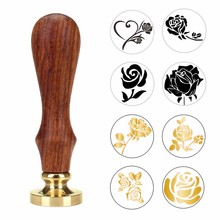Feather Rose Tree Wax Seal Stamp With Wood Handle DIY Ancient Seal Retro Stamp Wedding Invitation Antique Stamp Gift