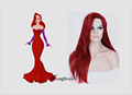Halloween Jessica Rabbit Cosplay Wig  Long Red Straight Hair Princess Wig Heat Resistant Costume Wig Side Parting