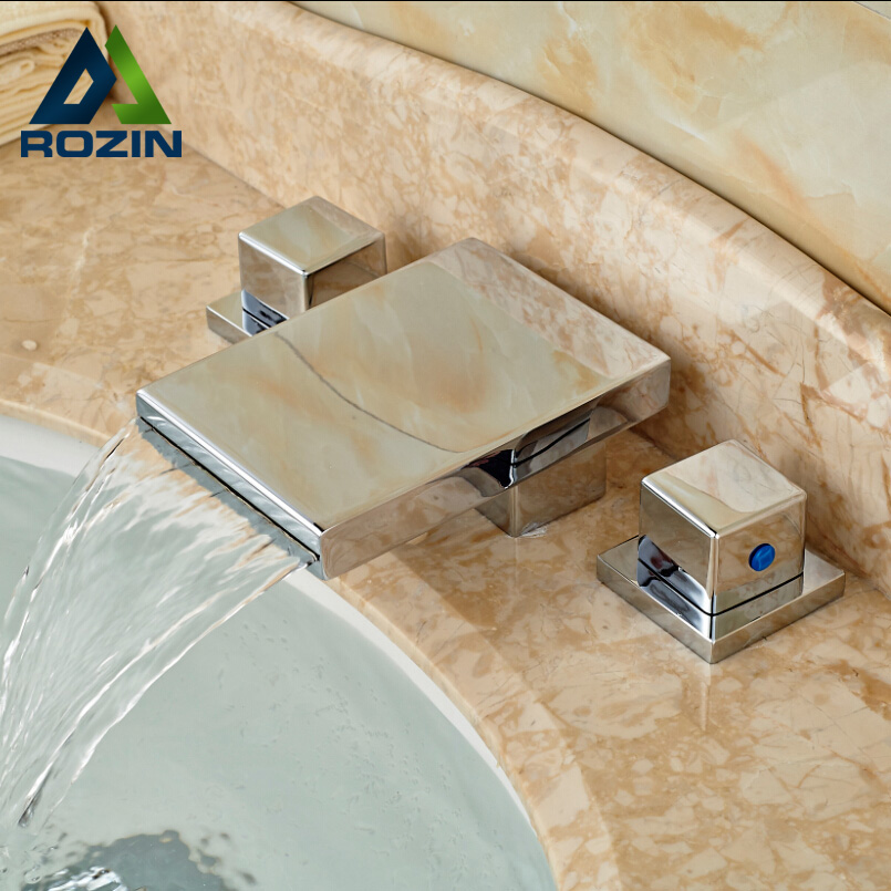 ФОТО Contemporary Chrome Finish Waterfall Bathroom Basin Sink Faucet Widespread Deck Mount Mixer Taps