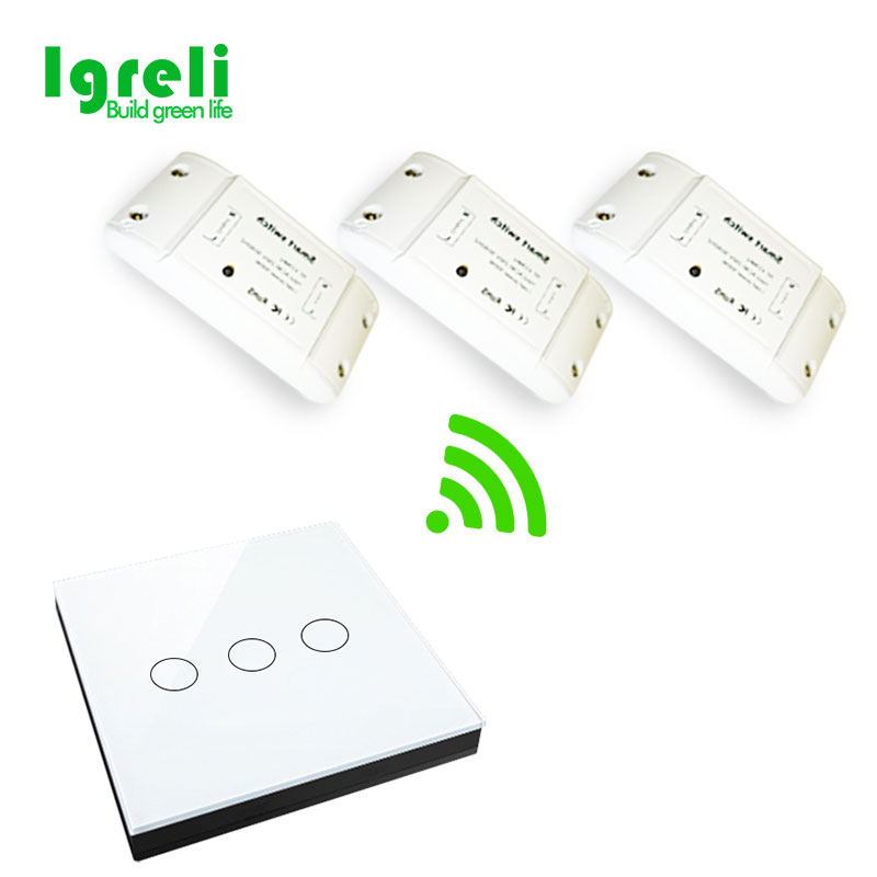 цена Igreli Smart Home Automation Modules Wireless 433 RF Switch wall remote control household ceiling lamps