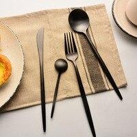 Black Gracile Flatware Dinnerware Set Steak Knife Main Fork Tableware Set Portuguese Style Dinner Soup Scoop Dessert Scoop 4pcs