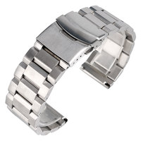 18 20 22 24mm Solid Stainless Steel Mens Wrist Watch Band Silver Strap Adjustable Folding Clasp