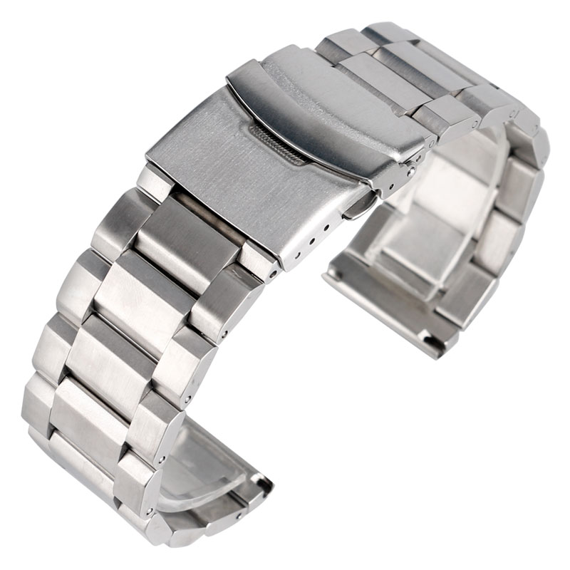 High Quality Silver Bracelet Solid Stainless Steel Watch Band 18mm 20mm 22mm 24mm Adjustable Strap Metal Watchband Mens Womens high quality lowest price wholesale kz 19 pneumatic combination steel metal strapping packing machine for 19mm steel strap tape