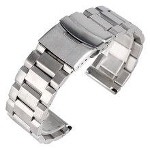 Alta Qualidade Pulseira de Prata Faixa de Relógio de Aço Inoxidável Sólido 18mm 20mm 22mm 24mm Alça Ajustável de Metal pulseira Das Mulheres Dos Homens