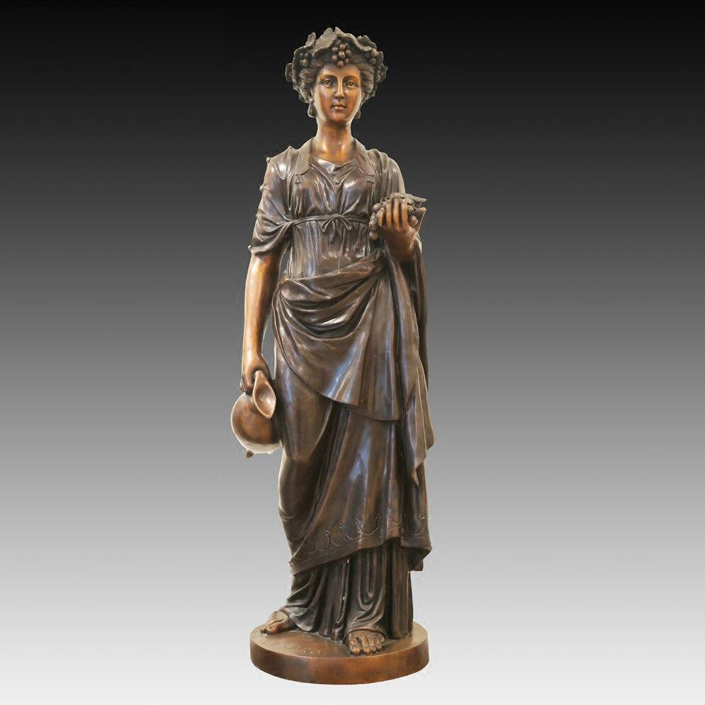 Ретро Европейский стиль Большая бронзовая статуя женщины открытый сад Декор виноград скульптура Девушки Кампус офисное оформление
