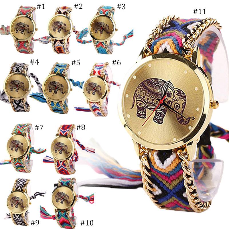 Thailand Cartoon Elephant Braided Rope Watch Women Casual Dress Quartz Wrist Watches Ladies Bracelet Watch Gift TT@ Наручные часы