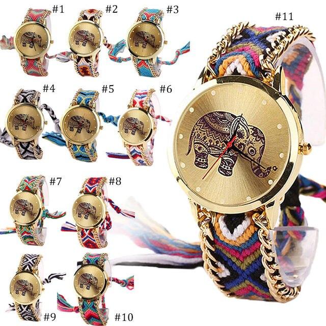 93bc03786dee € 1.85 20% de DESCUENTO|Tailandia dibujo elefante trenzado cuerda reloj  mujeres vestido Casual cuarzo relojes de pulsera señoras pulsera reloj ...