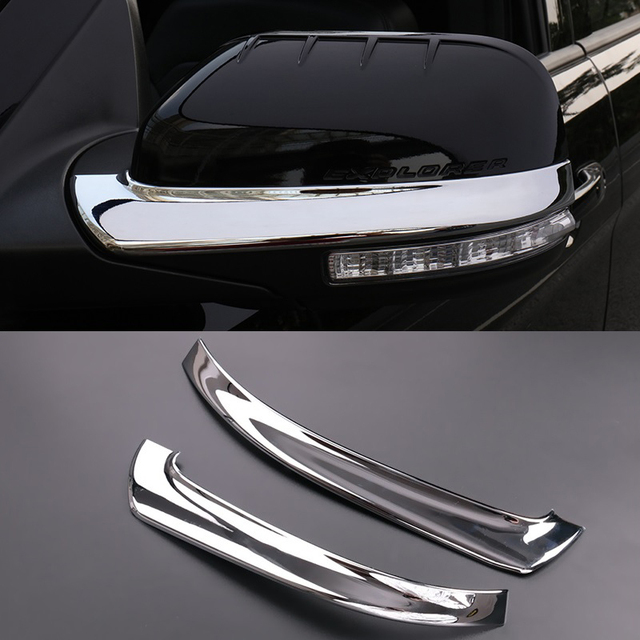 2pcs Abs Chrome Side Mirrors Anti Rub Decoration Trims For Ford