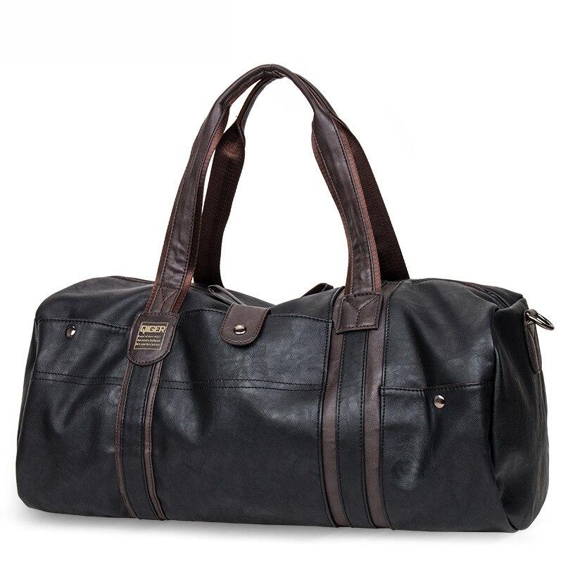 MAGIC UNION Weekender масло воск кожаные сумки для мужчин путешествия вещевой мешок портативный сумки на плечо мужская мода сумка для переноски - Цвет: Черный