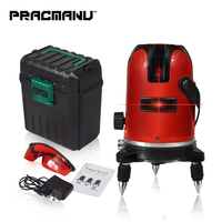 PRACMANU 5 Lines 6 Points Laser Level Automatic Self Leveling 360 Vertical&Horizontal Tilt Degrees Rotary LD 650nm Outdoor Mode
