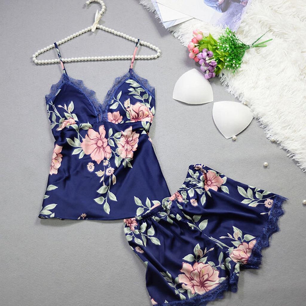Womens Sexy Lingerie Sleepwear Satin Silk Babydoll Lace Nightwear Floral Pajamas Set