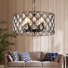 American village black Iron crystal pendant light bird cage dining room living room bar kitchen hanging lighting