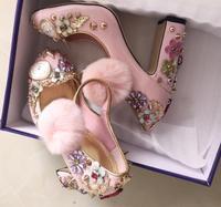 Розовые волосы мяч толстом массивном Обувь на высоком каблуке часы цветок заклепки алмаз дамы принцесса обувь реальные фотографии