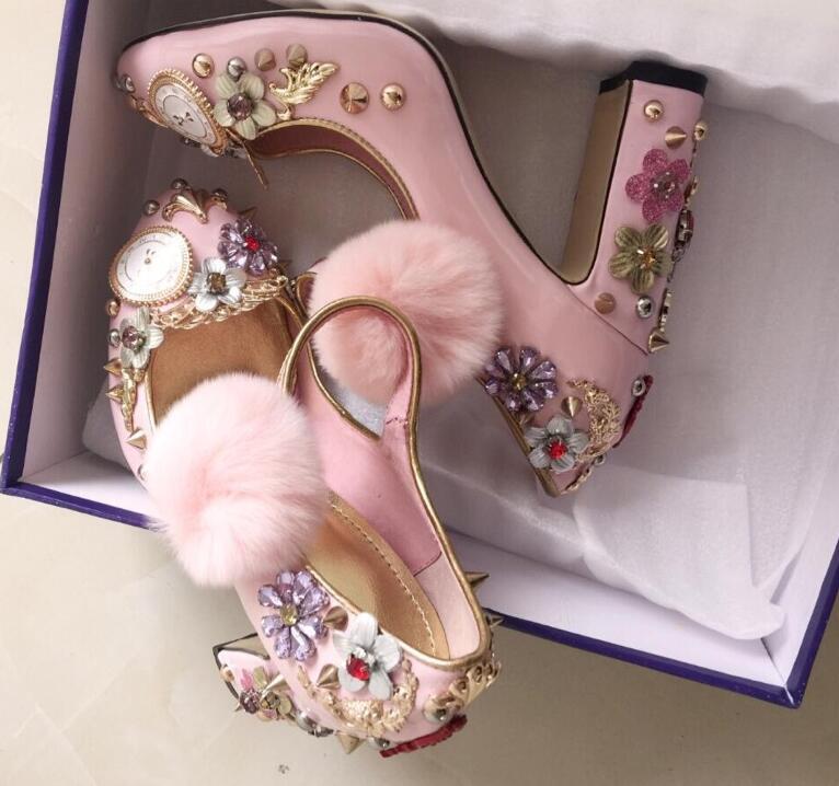 Pelota rosa para el pelo grueso grueso zapatos de tacón alto relojes - Zapatos de mujer