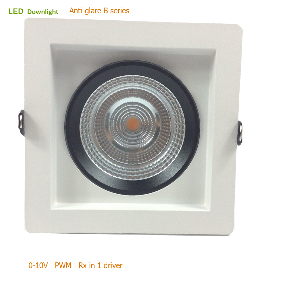 0-10V PWM Rx Dimmable Anti-dazzling Square Frame 15W 20W 40W High CRI90 Commercial LED Light Adjustment Downlight0-10V PWM Rx Dimmable Anti-dazzling Square Frame 15W 20W 40W High CRI90 Commercial LED Light Adjustment Downlight