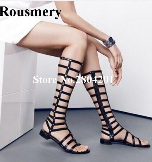 Rousmery Vintage Solid Color Gladiator Fashion Cutouts Rivet Zipper T-Strap Knee Boots Flat With Dress Party Summer Boots Women summer alluring spaghetti strap sleeveless spliced solid color dress for women
