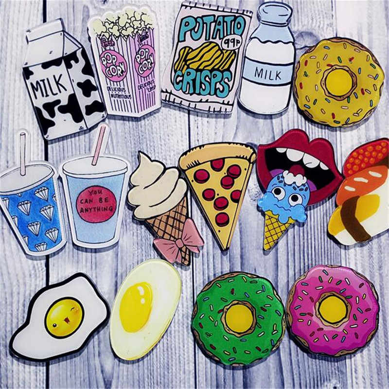 Maxsin 1 PC Cartoon Drinks Milk Egg Pizza Brooch Acrylic Pin Badges Icons on The Backpack Medal Decoration Badge for Clothing