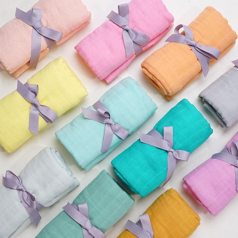 Muslinlife Bamboo Cotton Blanket Soft Baby Wrap Blanket Swaddle Plain Dye Muslin Blanket Newborn Infant Accessories