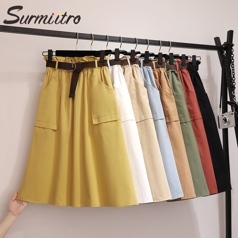 Surmiitro Midi Knee Length Summer Skirt Women With Belt 2020 Spring Casual Cotton Solid High Waist Sun School Skirt Female