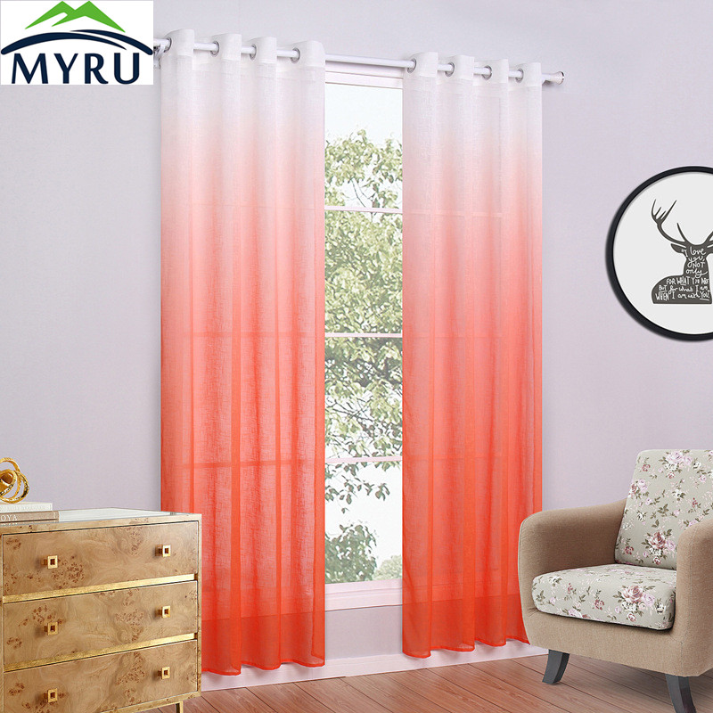New White Orange 1*2.5M Sunflower Voile Window Panel Sheer Tulle ...