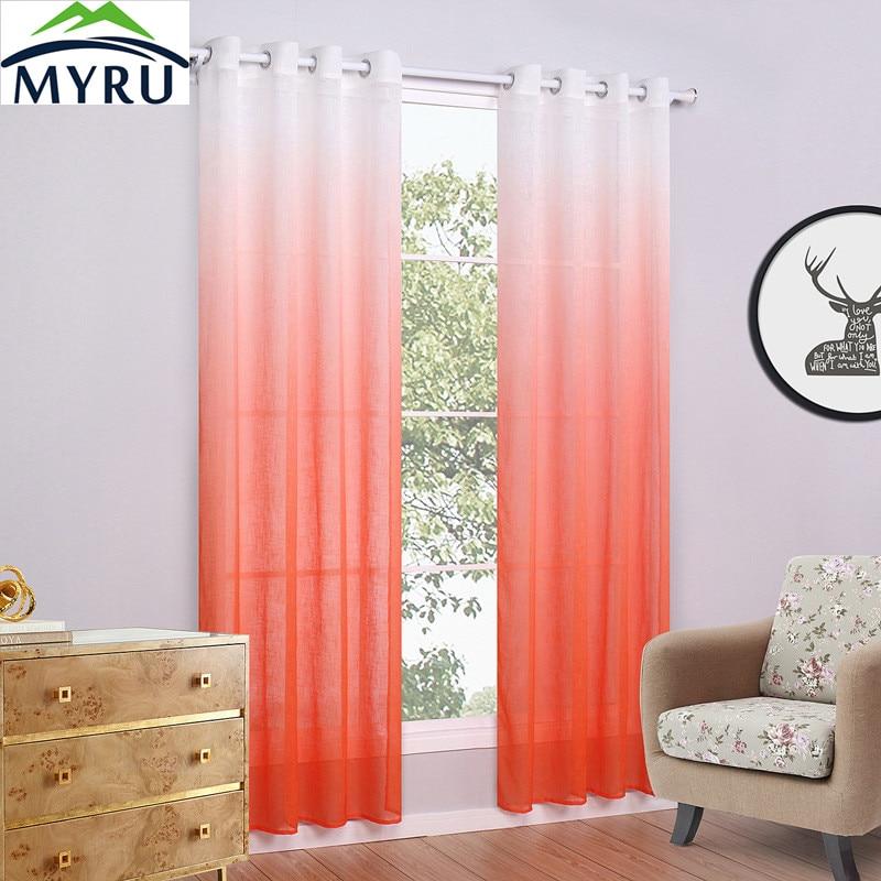 4930e2a60326 Myru оранжевый фиолетовый градиент узор рампы окна Экран поп Стиль свежий  тонкий крест белье Sheer Шторы Тюль Шторы 4 размеры