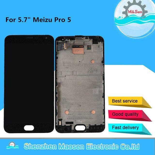 """Orijinal AMOLED M & Sen 5.7 """"Meizu Pro 5 için Pro5 LCD ekran + dokunmatik Panel sayısallaştırıcı için çerçeve ile meizu Pro 5 LCD ekran"""