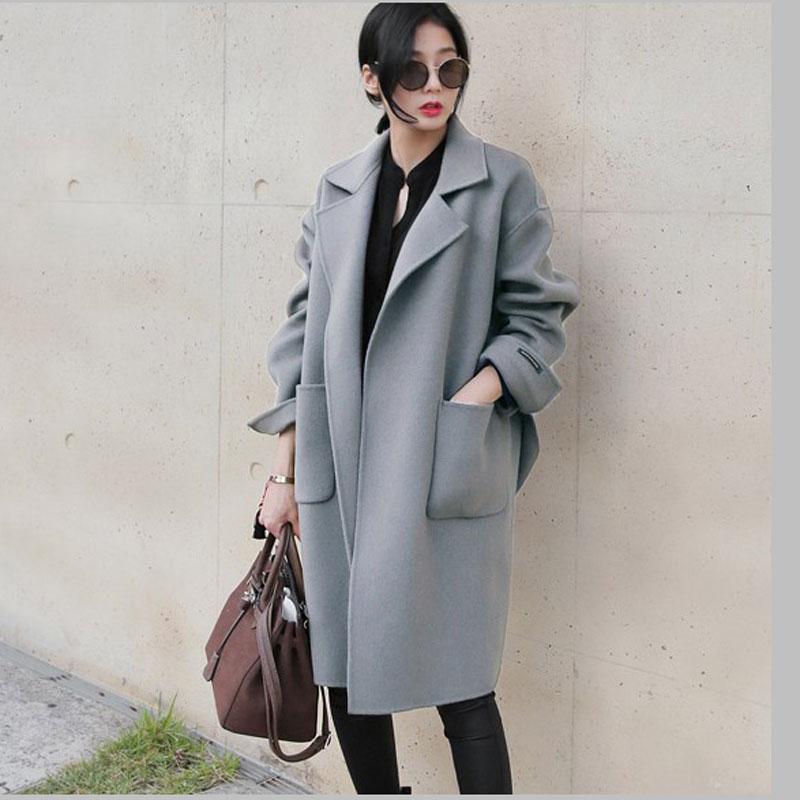 2016 coréen Feminino Casaco Blue Nouvelle Marron Long Mélanges Laine Poncho light Automne Moyen Veste Ae1736 Hiver Manteau Femmes Lâche OtAwOrU7q