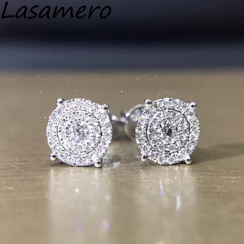 LASAMERO 0.1 CTW Round Cut Natural Diamond Cluster Earrings 18K White Gold Diamond Halo Stud Earrings Fine Jewelry Earring Studs цена в Москве и Питере