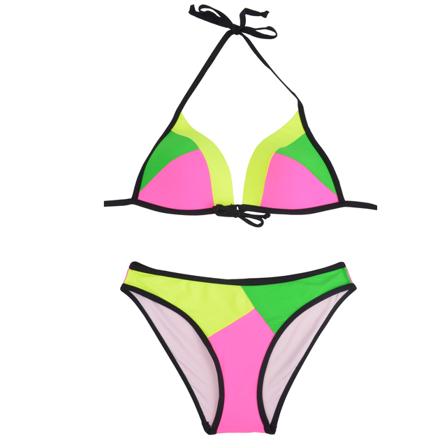 Brazilian Bikini Set Push Up 2017 Summer Patchwork Bikinis Halter Women Sexy Low Waist Bottom Push Up Swimwear Female Swim Suit