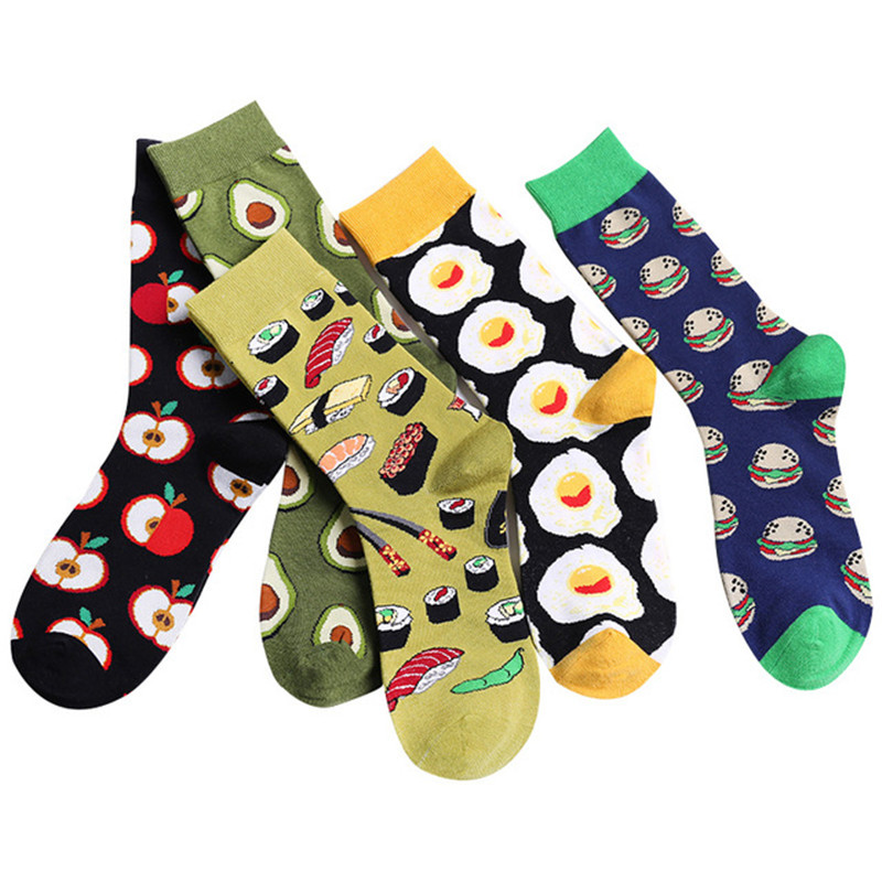 Howfits Cartoon Cotton Women Men Casual Socks Mens Ankle Streetwear Fruits Apple Avocado Sushi Hamburger Poached Egg Colorful