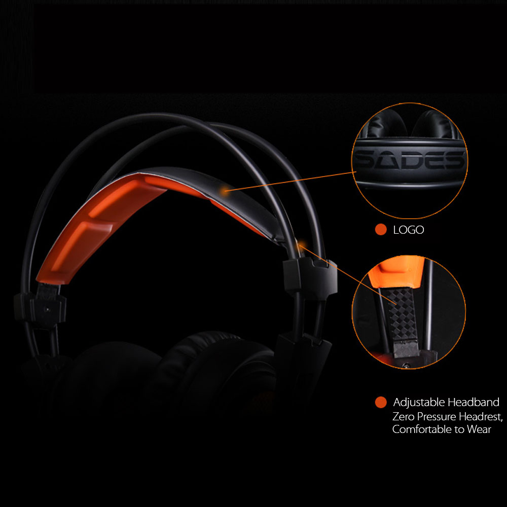 SADES A6 USB 7.1 Stereo wired gaming headphones game headset over ear with mic Voice control for laptop computer gamer 11