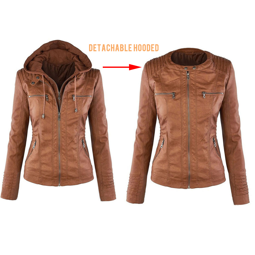 Jocoo Jolee Autumn Faux Leather Jacket Female Winter Faux Fur Coat Basic Jacket Plus Size Women Coats and Jackets Oversized 7XL