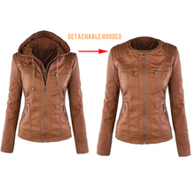 Jocoo Jolee Autumn Faux Leather Jacket Female Winter Faux Fu