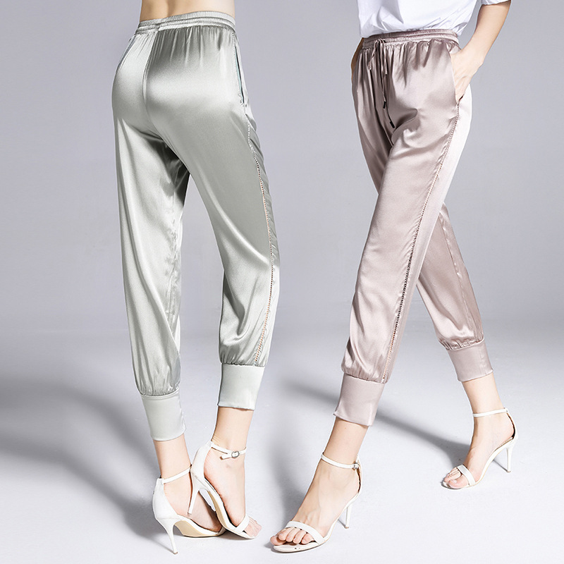 Mulberry silk heavy fancy crepe silk pants lace elastic waist slim thin pencil ankle length pants casual silk pants1810028 in Pants amp Capris from Women 39 s Clothing