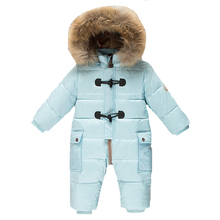 Russia Winter 90 White Duck Down Baby Jumpsuit Newborn Thicken Clothes Baby Rompers Infant Snowsuit Outerwear
