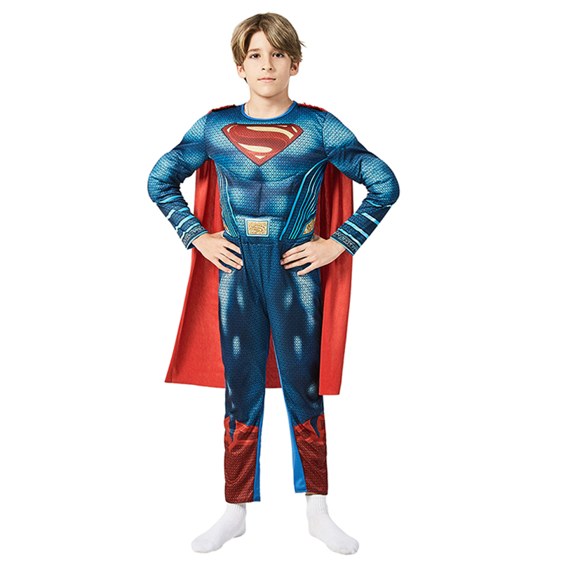 Child DC Comics Superhero Superman Man Of Steel Muscle Costume ​Halloween Cosplay Film Characters Dress Up For Kids