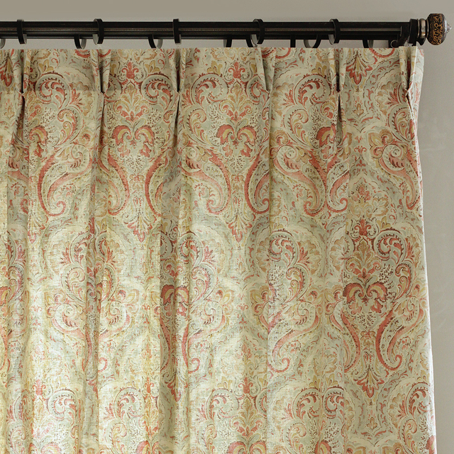 Beige Orange Green Paisley Batik Flower Countryside Classic Cotton For Bedroom Living Room Window Curtains Blinds