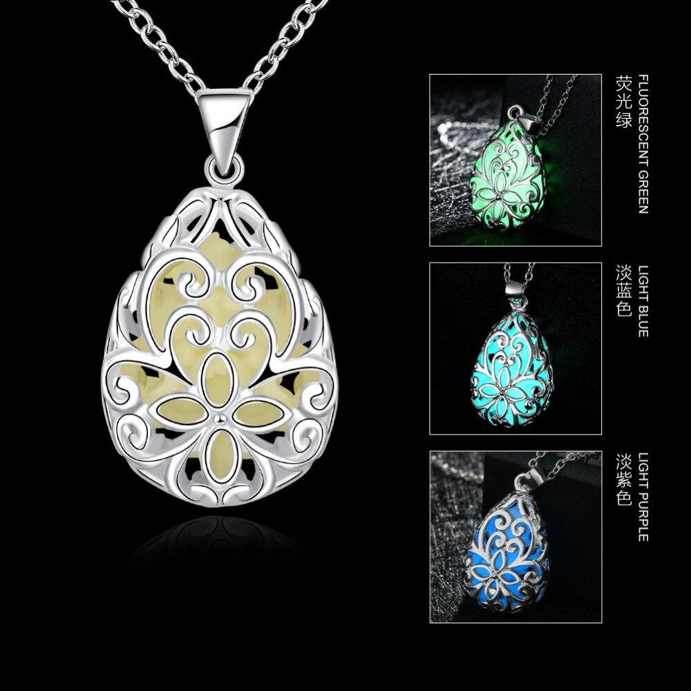 JEXXI Glowing Luminous Vintage Necklaces Special Gift Steampunk Pretty Magic Waterdrop Locket Glow In The Dark Pendant