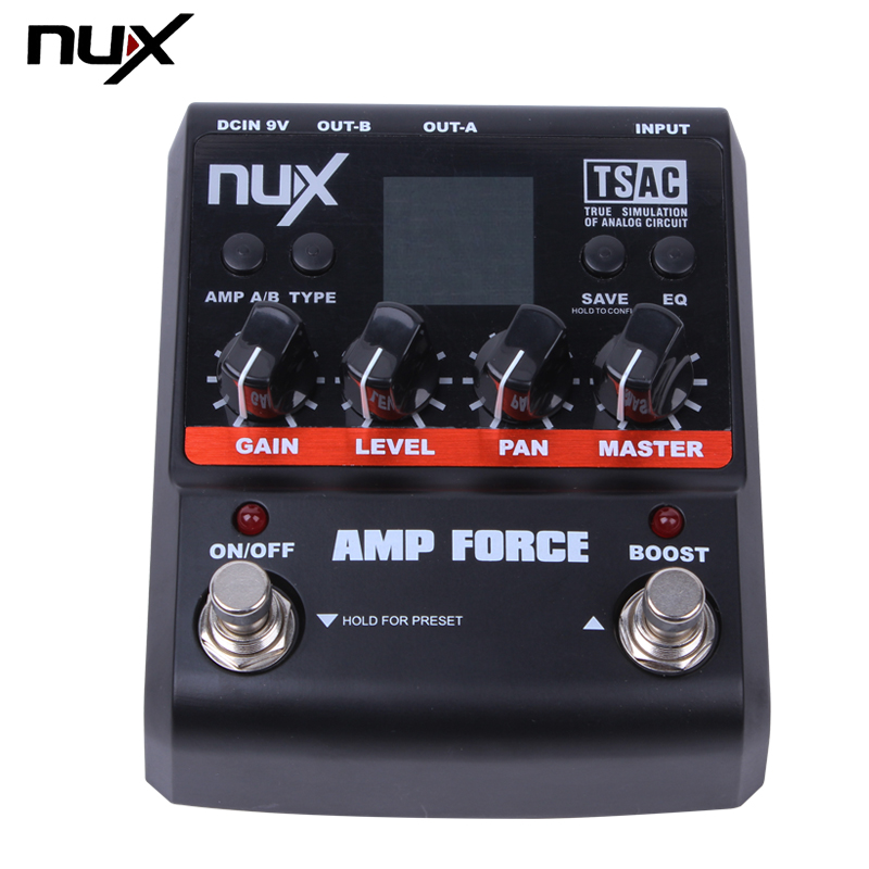 NUX AMP Force Amplifier Simulator Guitar Effects Pedal 12 Guitar Pre-amps Distortion with 3-band EQ True Bypass nux amp force guitar effect pedal stomp boxes dsp modeling amp cabinet simulator 9 user presets true bypass