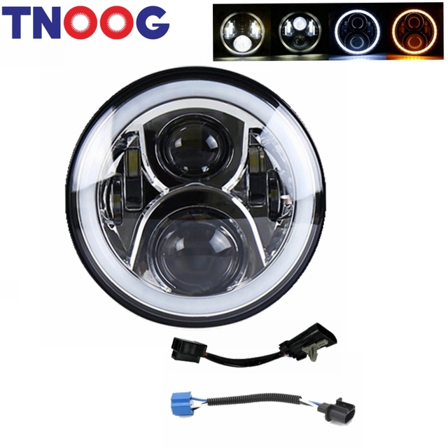 TNOOG 7 inch LED Motorcycle Headlight Round for Wrangler JK LJ CJ TJ Street Glide Softail Fatboy